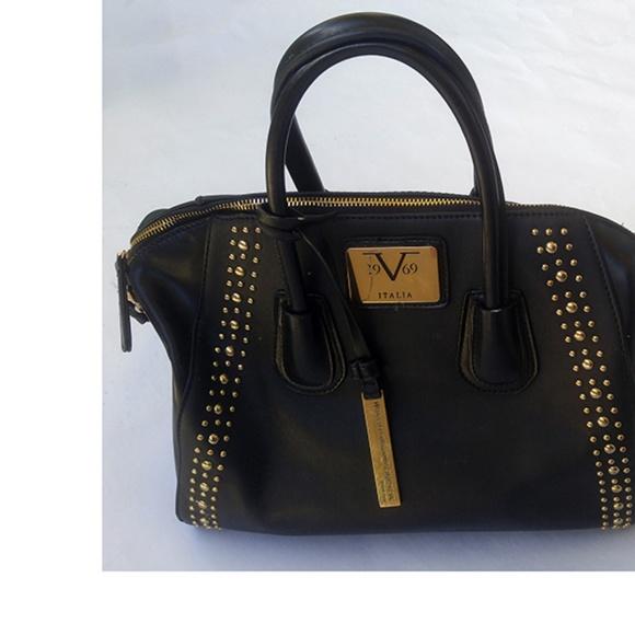 9264c630ccbe Versace 19V69 Crossbody Handbag Purse Black Blue. M 5b7b73a47386bc8b224dbf4a